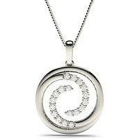 Circle Diamond Pendant Necklace White Gold with 0.55ct H-I I1