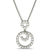 Drop Diamond Pendant Necklace White Gold with 0.50ct H-I I1
