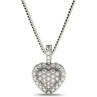Cluster Diamond Pendant Necklace White Gold with 0.30ct H-I I1