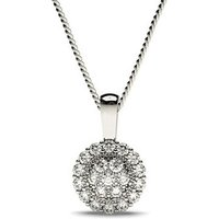 Cluster Diamond Pendant Necklace White Gold with 0.40ct H-I I1