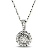 Cluster Diamond Pendant Necklace White Gold with 0.35ct H-I I1