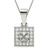 Halo Diamond Pendant NecklaceWhite Gold with 0.25ct H I1