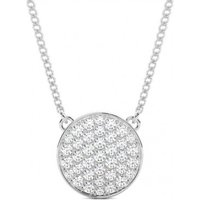 Cluster Diamond Pendant Necklace White Gold with 0.70ct H-I I1