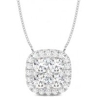 Cluster Diamond Pendant Necklace White Gold with 2.00ct H-I I1