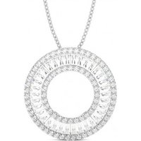 Circle Diamond Pendant Necklace White Gold with 1.50ct H-I SI
