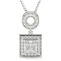Halo Diamond Pendant Necklace White Gold with 1.00ct H I1