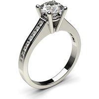 Side Stone Engagement Ring in White Gold with 0.30ct Diamond G SI1