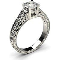 Side Stone Engagement Ring inWhite Gold with 0.50ct Diamond H I1