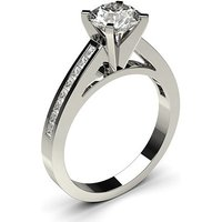 Side Stone Engagement Ring inWhite Gold with 0.40ct Diamond H I1