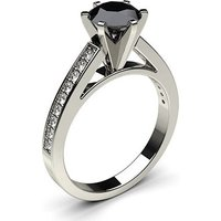Black Diamond Engagement Ring in White Gold with 0.50ct Diamond