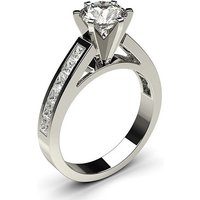 6 Prong Setting Large Side Stone Engagement Ring