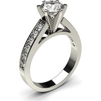 Side Stone Engagement Ring in White Gold with 0.50ct Diamond H I1