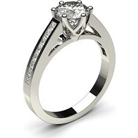 Side Stone Engagement Ring in White Gold with 0.60ct Diamond H I1