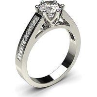 6 Prong Setting Large Side Stone Engagement Ring