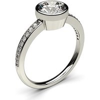 Side Stone Engagement Ring in White Gold with 0.20ct Diamond H I1