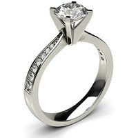 18k White Gold Side Stone Engagement Ring in 0.50ct Round Cut Diamond
