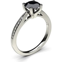 Black Diamond Engagement Ring in White Gold with 1.00ct Diamond
