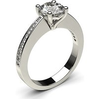 Side Stone Engagement Ring in White Gold with 0.40ct Diamond H I1