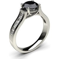 4 Prong Setting Studded Side Stone Engagement Black Diamond Ring