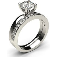 Bridal Set Engagement Ring in White Gold with 0.90ct Diamond H I1