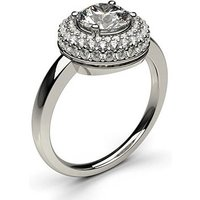 Halo Engagement Ring in White Gold with 0.50ct Diamond H I1