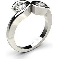 Two Stone Diamond Ring White Gold 0.30ct H-I I1
