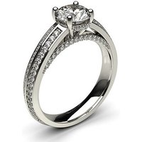 Side Stone Engagement Ring inWhite Gold with 0.40ct Diamond H I1