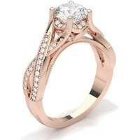 Side Stone Engagement Ring in White Gold with 0.90ct Diamond H I1