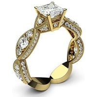 Side Stone Engagement Ring inYellow Gold with 0.70ct Diamond H I1