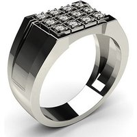 Prong Setting Round Diamond Mens Ring in 18K White Gold