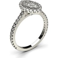 Cluster Diamond Ring White Gold 0.65ct H-I I1
