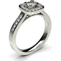 Halo Engagement Ring in White Gold with 0.40ct Diamond H SI1