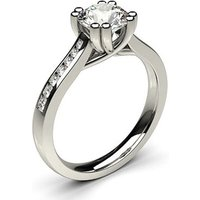Side Stone Engagement Ring in White Gold with 1.00ct Diamond H I1