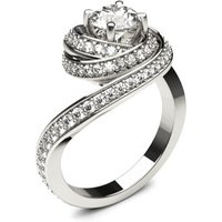 Side Stone Engagement Ring in White Gold with 0.70ct Diamond H I1