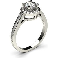 Halo Engagement Ring in White Gold with 0.70ct Diamond H I1