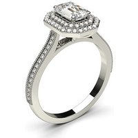 Halo Engagement Ring in White Gold with 0.70ct Diamond H SI1