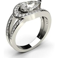 Side Stone Engagement Ring in White Gold with 1.30ct Diamond H SI1
