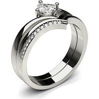 Bridal Set Engagement Ring in White Gold with 0.20ct Diamond H I1