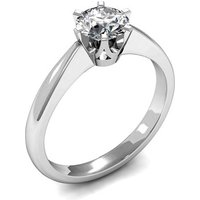 6 Prong Setting Round Diamond Plain Engagement Ring