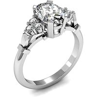 Side Stone Engagement Ring in White Gold with 0.75ct Diamond H SI1