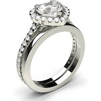Bridal Set Engagement Ring in White Gold with 0.90ct Diamond H SI1