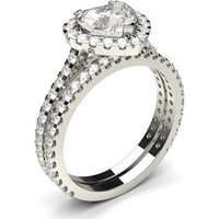 Bridal Set Engagement Ring in White Gold with 0.90ct Diamond H SI2