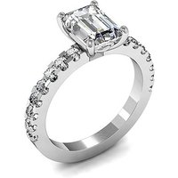 Side Stone Engagement Ring in White Gold with 1.00ct Diamond H SI1