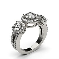 Halo Engagement Ring in White Gold with 1.50ct Diamond H-I I1
