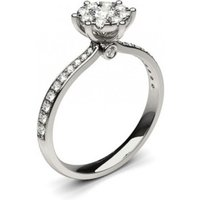 Side Stone Engagement Ring in White Gold with 0.45ct Diamond H-I I1