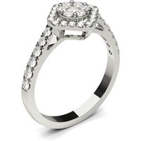 Halo Engagement Ring in White Gold with 0.55ct Diamond H-I I1