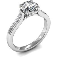 Side Stone Engagement Ring in White Gold with 0.30ct Diamond H I1