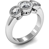 Plain Three Stone Ring in Full Bezel Setting with 0.25 ct.