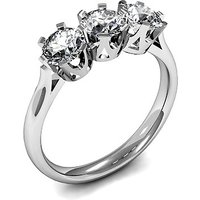 Plain Three Stone Ring in 6 Prong Setting with 0.25 ct. Diamond H-1 I1