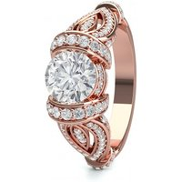 Side Stone Engagement Ring inRose Gold with 1.40ct Diamond H I1